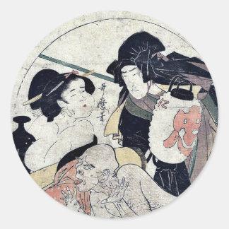 Act eleven of the Chushingura by Kitagawa Utamaro Round Stickers