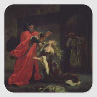 Act I, scene 3: Desdemona kneeling at her father's Square Sticker