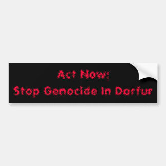 Act Now:Stop Genocide In Darfur Bumper Sticker