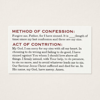 Act of Contrition and Review of Life Cards