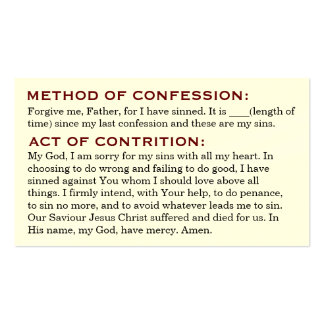Act of Contrition and Review of Life Cards Pack Of Standard Business Cards