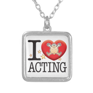 Acting Love Man Silver Plated Necklace
