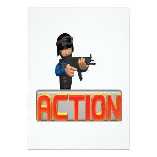 Action 13 Cm X 18 Cm Invitation Card