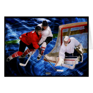 Action at the Hockey Net Greeting Card