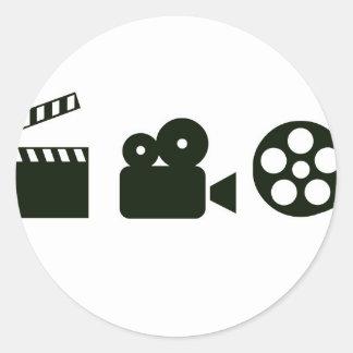 action camera film jpg round sticker