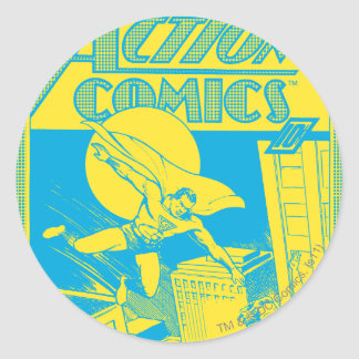 Action Comics Superman saves Classic Round Sticker