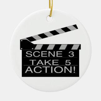 Action Directors Clapboard Round Ceramic Decoration