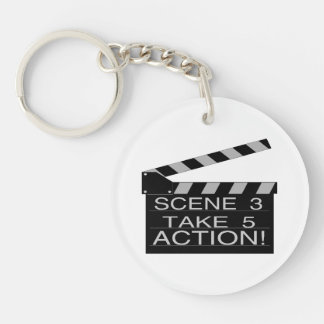 Action Directors Clapboard Double-Sided Round Acrylic Key Ring
