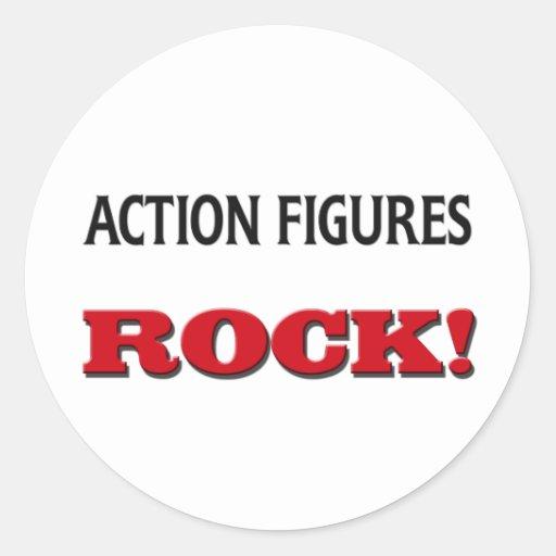 Action Figures Rock Round Sticker