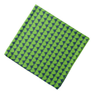 Action Green Hearts on College Navy Blue Kerchief