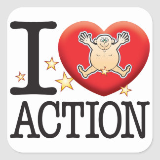 Action Love Man Square Sticker
