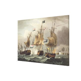 Action off Camperdown, October 11th 1797, engraved Canvas Print