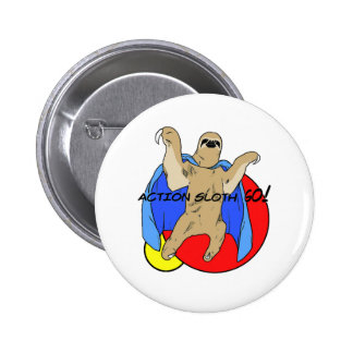 Action Sloth Colored 6 Cm Round Badge