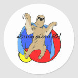 Action Sloth Coloured Round Stickers