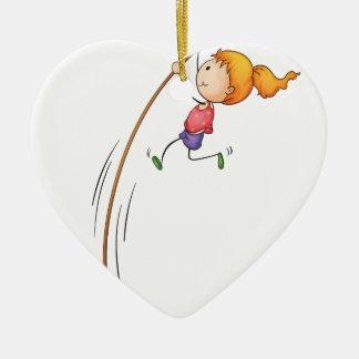 Active kid ceramic heart decoration