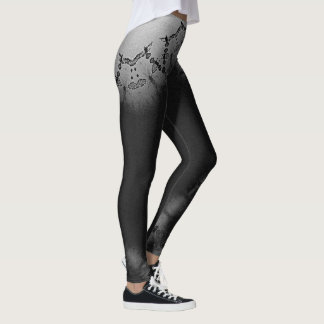 Active Legs- Black And White Lace Leggings