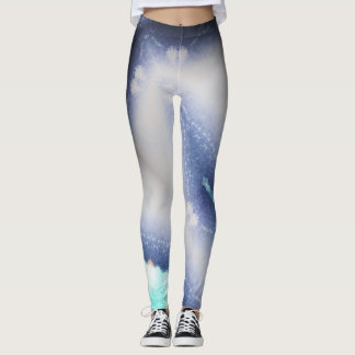 Active Legs- Black Teal Abstract Curves 01 Leggings