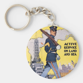Active Service on Land and Sea Basic Round Button Key Ring