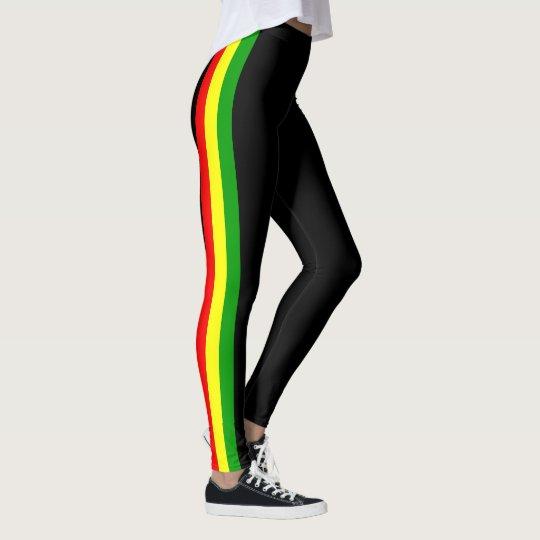 Activewear leggings with rasta stripes