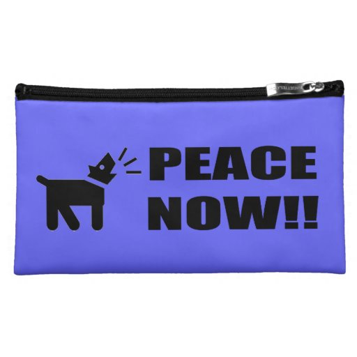 Activist Dog: Peace Now Cosmetics Bags