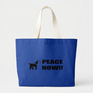 Activist Dog: Peace Now Jumbo Tote Bag