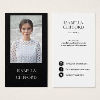 Actor Model Dancer Black White  Photo Social Media Business Card