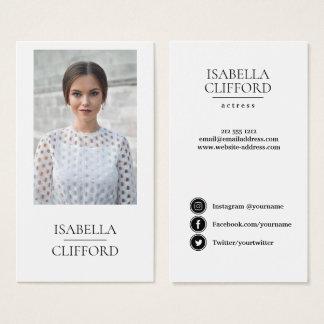 Actor Model Dancer close up Photo Social Media Business Card