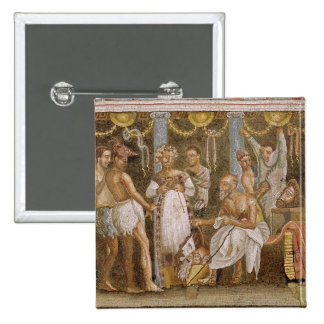 Actors rehearsing for a Satyr play, c.62-79 AD 15 Cm Square Badge