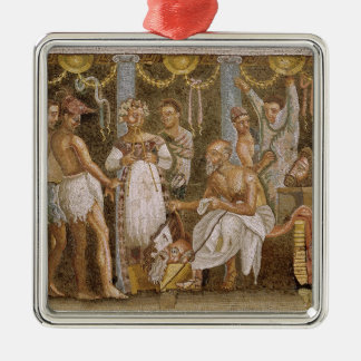 Actors rehearsing for a Satyr play, c.62-79 AD Silver-Colored Square Decoration