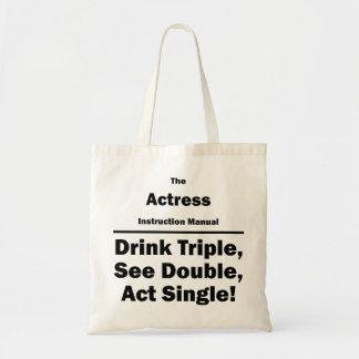 actress instruction manual canvas bag