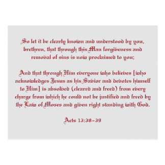 Acts 13:38-39 postcard