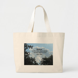 Acts 16:31 Believe on the Lord Jesus Christ Jumbo Tote Bag
