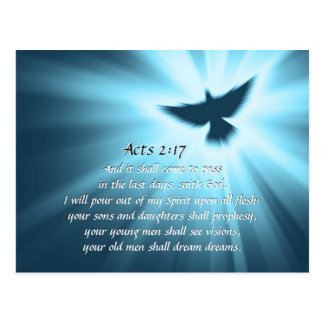 Acts 2:17 I will pour out My Spirit, Bible Verse Postcard