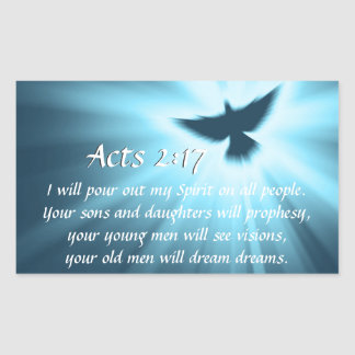 Acts 2:17 I will pour out My Spirit, Bible Verse Rectangular Sticker