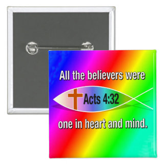 Acts 4:32 Christian fish rainbow button