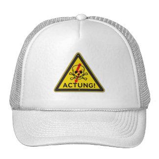 Actung Toxic Skull and Crossbones Warning Sign Cap