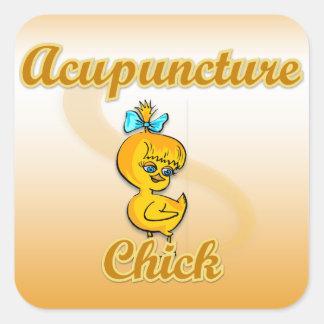 Acupuncture Chick Square Sticker