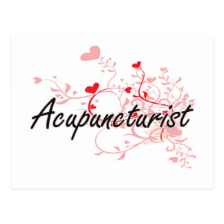 Acupuncturist Artistic Job Design with Hearts Postcard