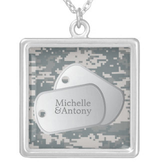 ACUs Pattern Customizable Dog Tags Square Pendant Necklace