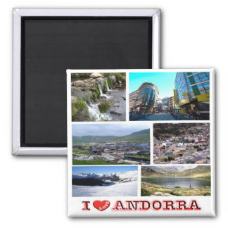 AD - Andorra - I Love - Collage Mosaic Square Magnet