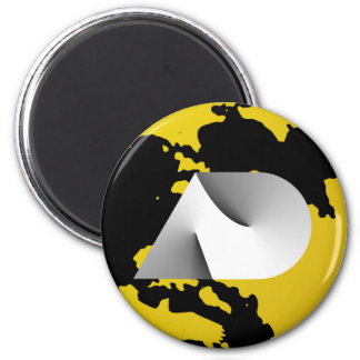 ad black n yellow 6 cm round magnet