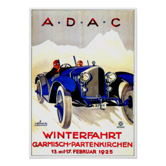 ADAC German Auto Race ~ Vintage Automobile Ad Poster