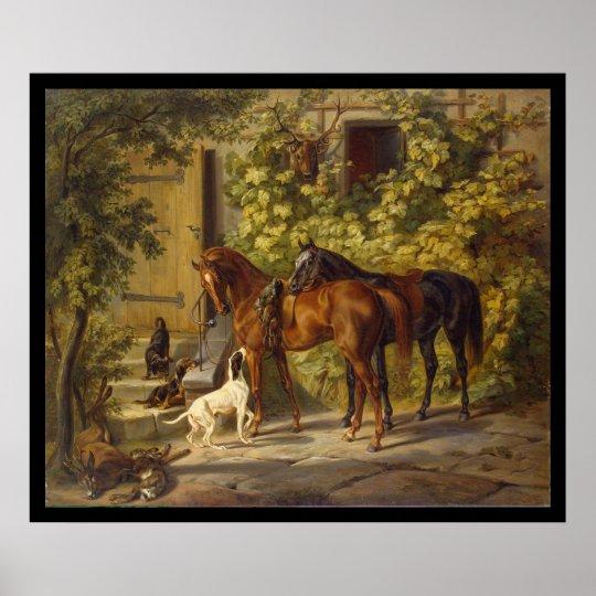 Adam Albrecht Horses at the Porch Poster