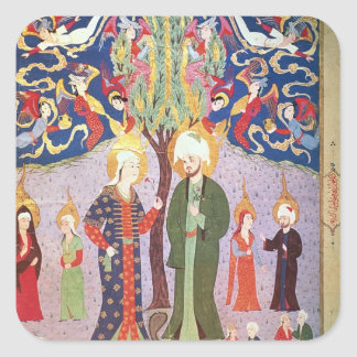 Adam and Eve and their Thirteen Twins Square Sticker