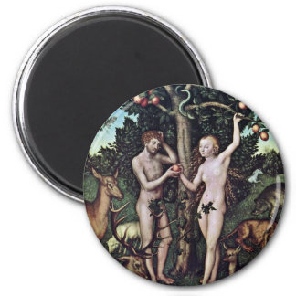 Adam And Eve By Cranach D. Ä. Lucas (Best Quality) 6 Cm Round Magnet