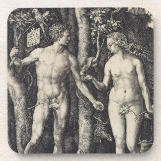 Adam and Eve Engraving by Albrecht Durer Drink Coaster