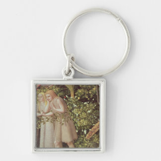 Adam and Eve Expelled from Paradise Silver-Colored Square Key Ring