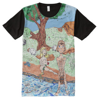 Adam and Eve in the Garden All-Over Print T-Shirt