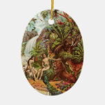Adam And Eve In The Garden Ceramic Oval Decoration