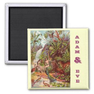 Adam and Eve Square Magnet